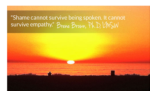 beautiful beach sunset with brene brown quote - drug addiction myths and stereotypes - inspire interventions - shari ferguson - drug addiction interventions san diego